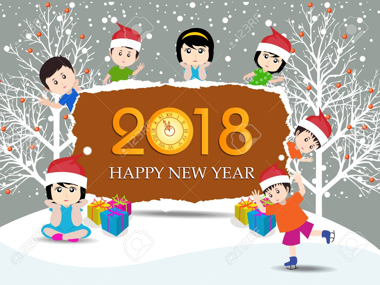 postcard happy new year 2018 and merry christmas with funny kids stock vector 87929455