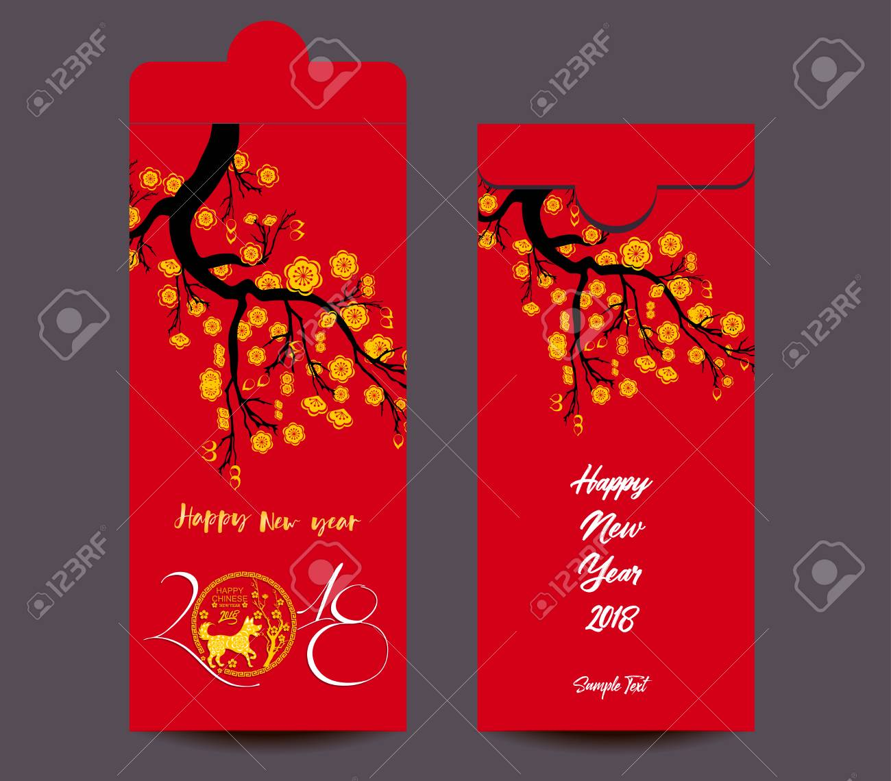 chinese new year red envelope flat icon year of the dog 2018 stock vector