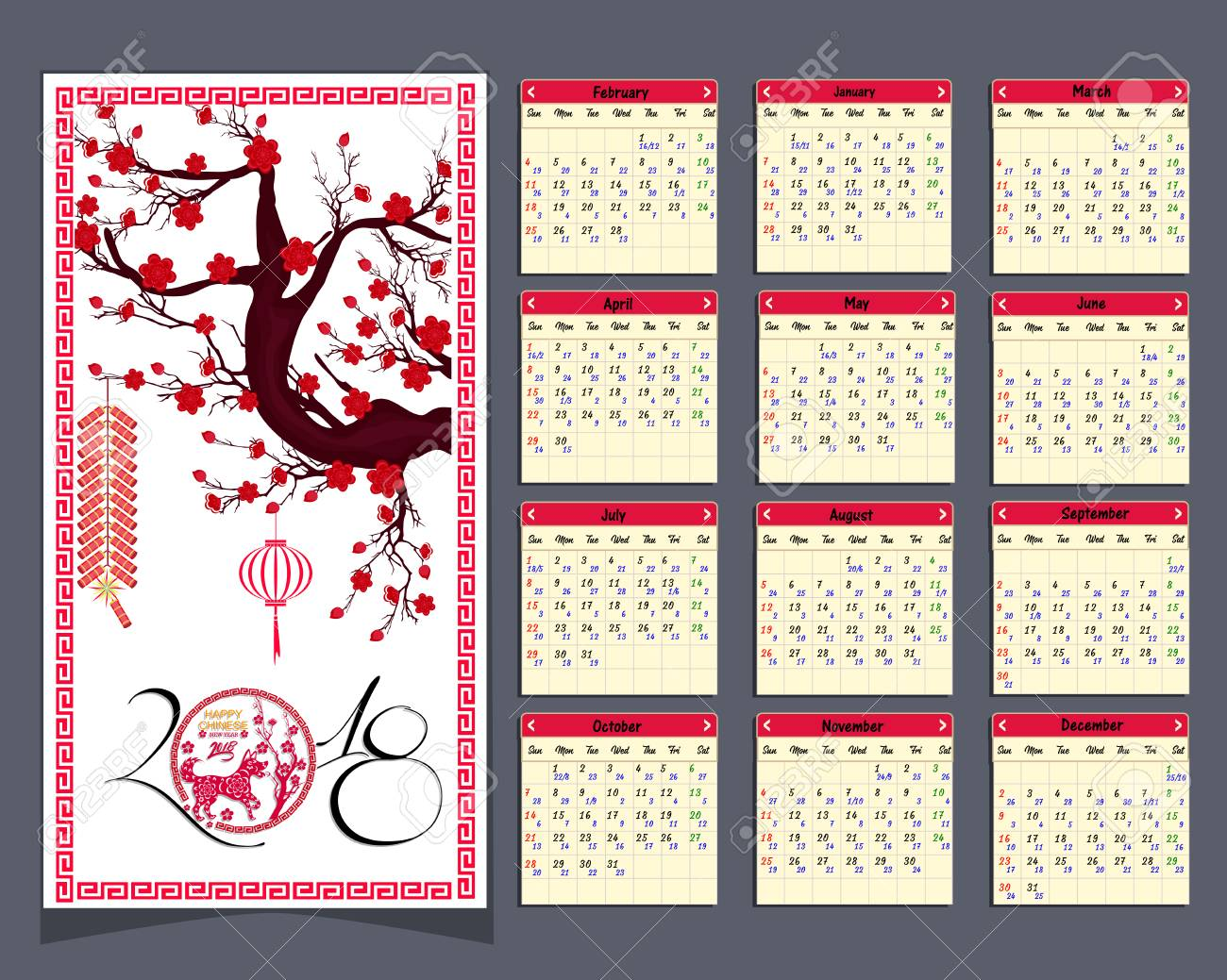 Calendario Chino.Calendario Lunar Calendario Chino Para Feliz Ano Nuevo 2018 Ano Del Perro
