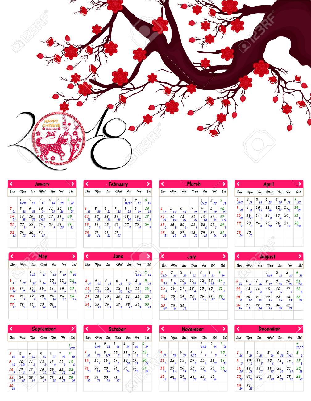 lunar calendar chinese calendar for happy new year 2018 year of the dog stock