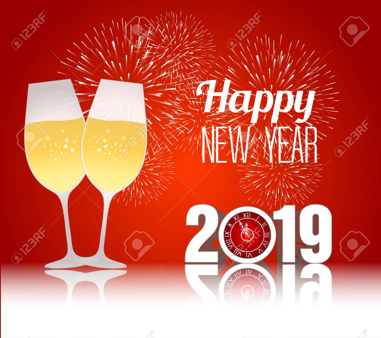 happy new year 2019 template vector illustration with champagne glasses stock vector 98015164