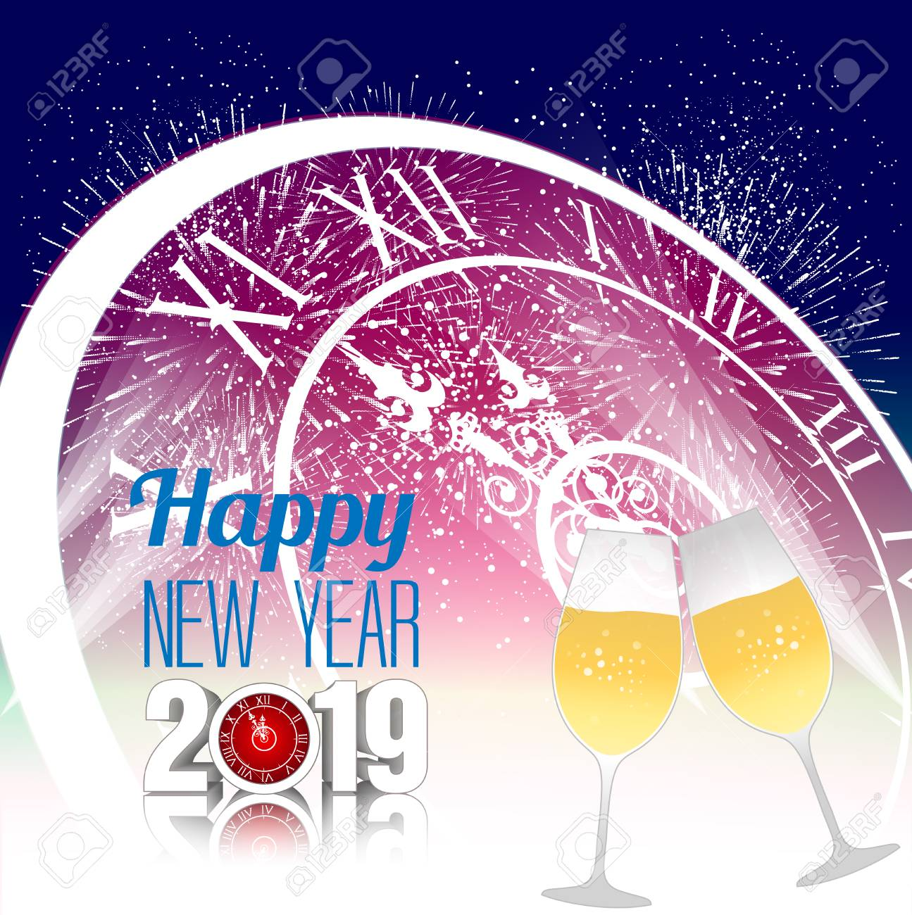 happy new year 2019 template vector illustration with champagne glasses stock vector 98015167