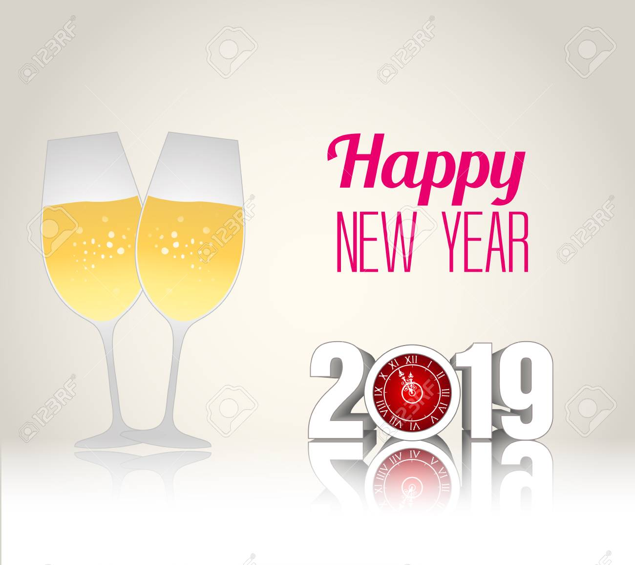 happy new year 2019 template vector illustration with champagne glasses stock vector 98015169