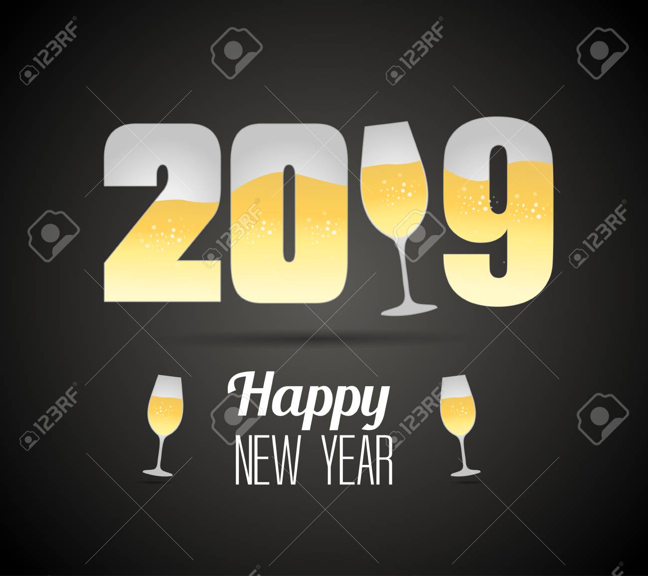 happy new year 2019 template vector illustration with champagne glasses stock vector 98015171