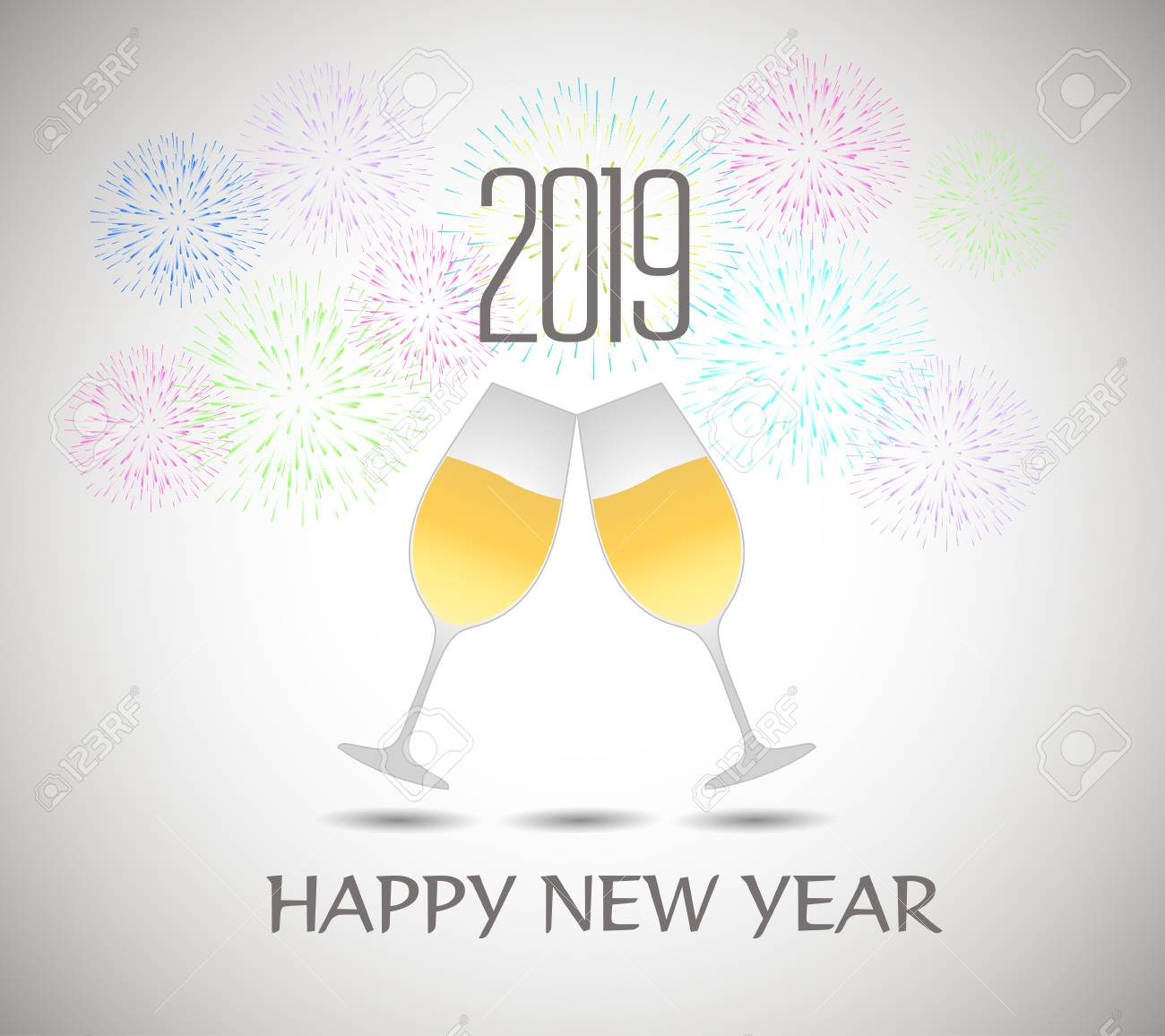 happy new year 2019 template vector illustration with champagne glasses stock vector 98015168