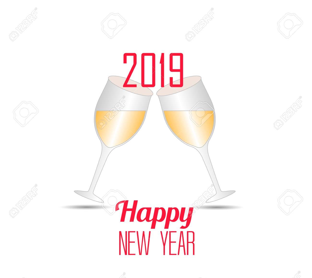 happy new year 2019 template vector illustration with champagne glasses stock vector 98015175