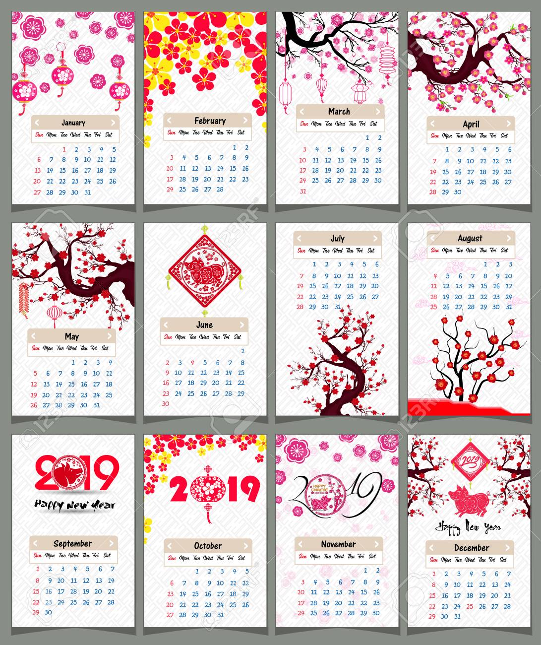 Chinese calendar set for 2019 with year of the pig design