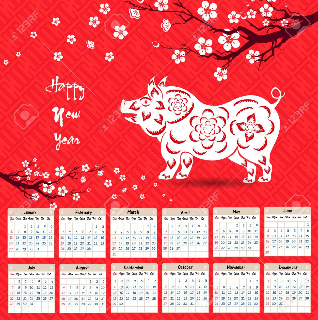 chinese calendar 2019 year of the pig vector design stock vector 100756679