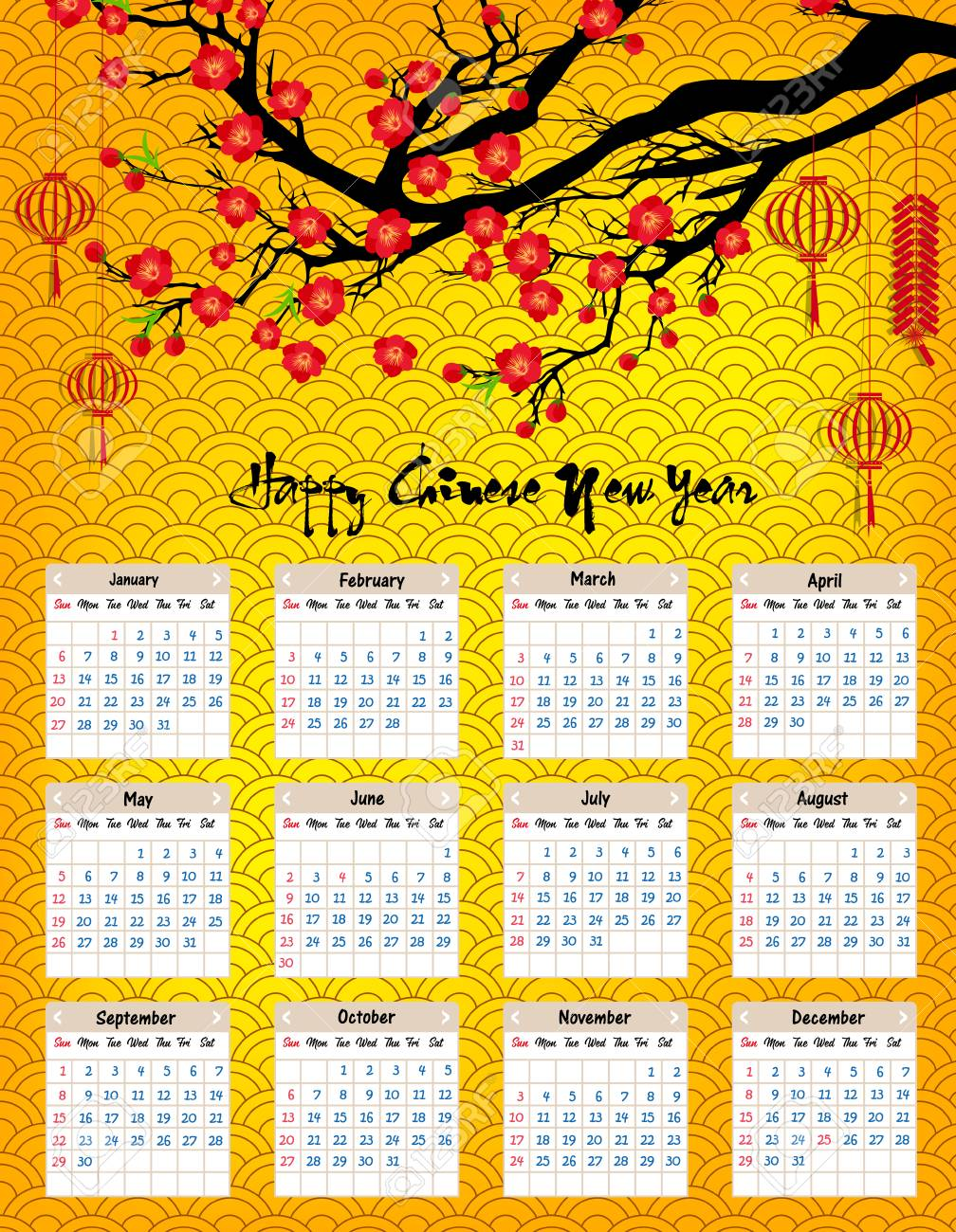 chinese calendar 2019 year of the pig vector design stock vector 100756681