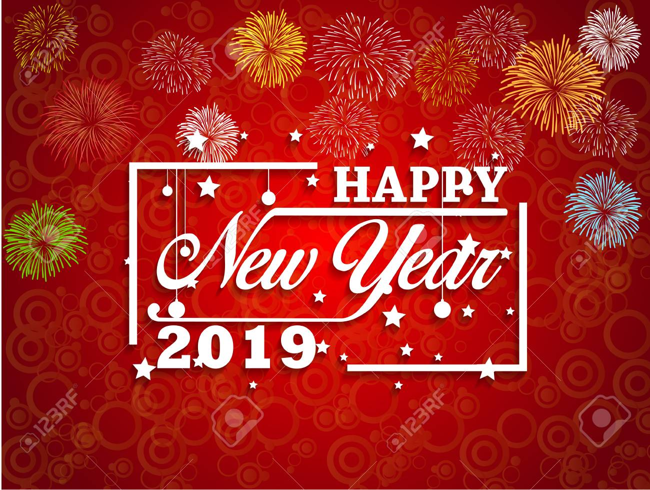2019 happy new year greeting card with colorful fireworks vector design template stock vector