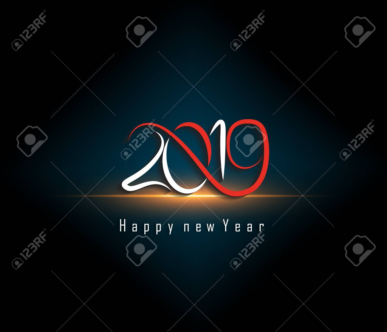 2019 happy new year greeting card vector design template stock vector 108379901