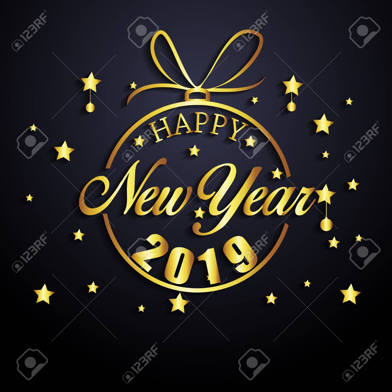 2019 Happy New Year Greeting Card Vector Design Template