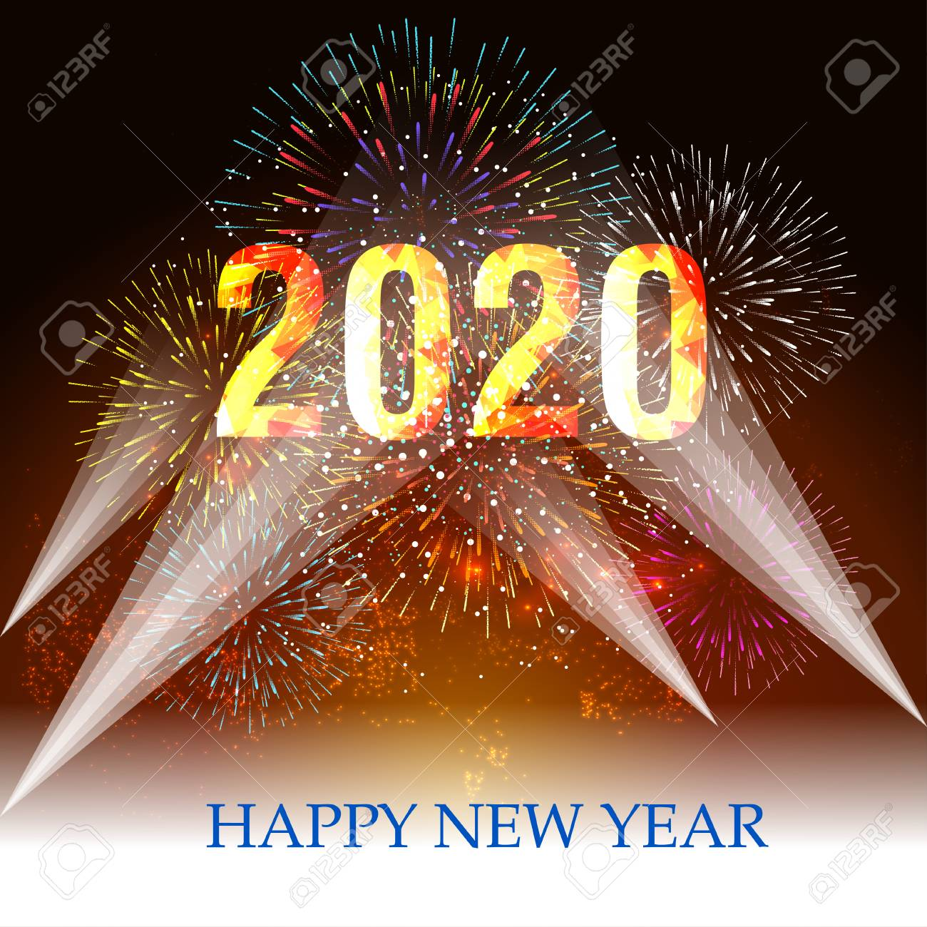 New Year 2020 Background Happy New Year 2020 Background With Fireworks. Royalty Free