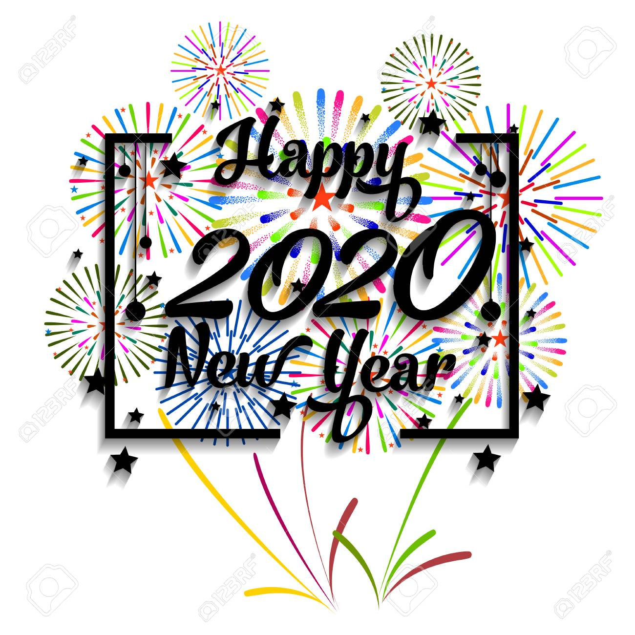 Happy New Year Clipart 2020.Happy New Year 2020 Background With Fireworks