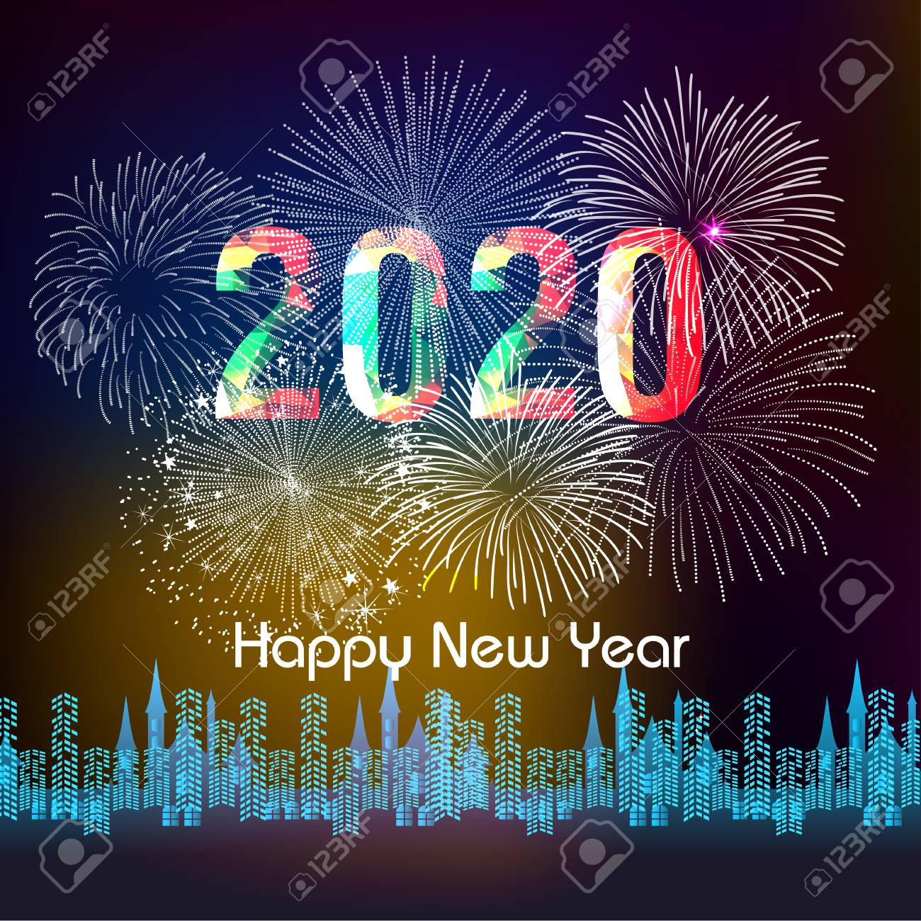 Happy New Year 2020 Pictures.Happy New Year 2020 Background With Fireworks
