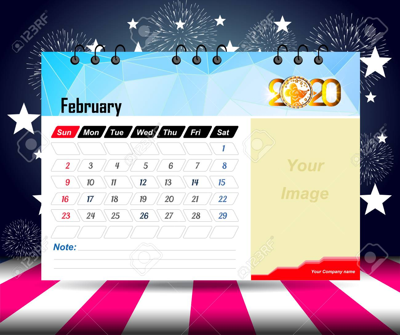 Free February 2020 Calendar Vector February 2020 Calendar For New Year Royalty Free Cliparts, Vectors