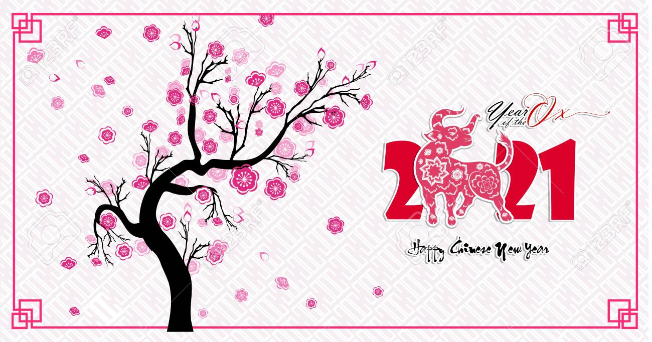 Happy Chinese New Year 2021 Year Of The Ox Flower And Asian Elements Royalty Free Cliparts Vectors And Stock Illustration Image 135956890