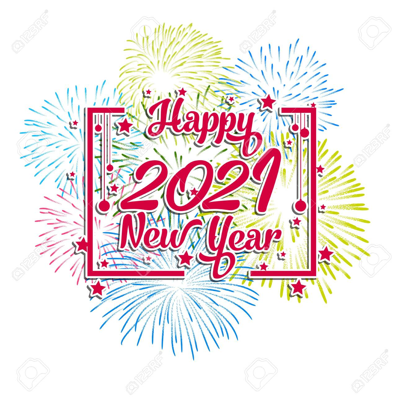 Happy New Year 2021 With Firework Background Firework Display Royalty Free Cliparts Vectors And Stock Illustration Image 136892288