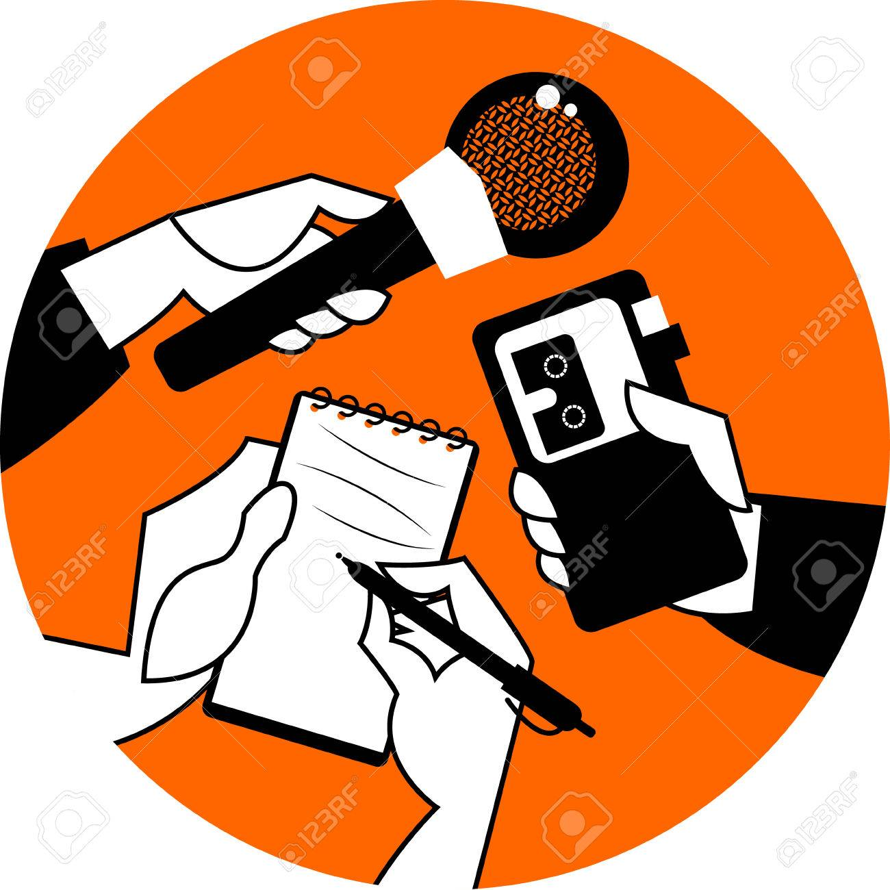 Set of hands holding microphone, voice recorder and spiral notebook. Journalism concept. Vector illustration - 45278794