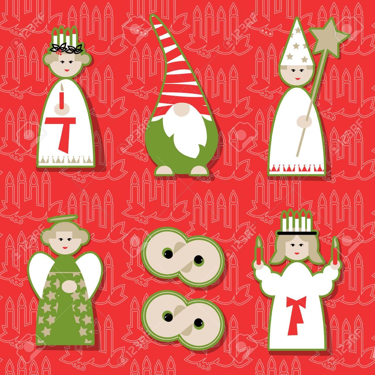 Christmas Dolls. Scandinavian Christmas Tradition. Vector ...