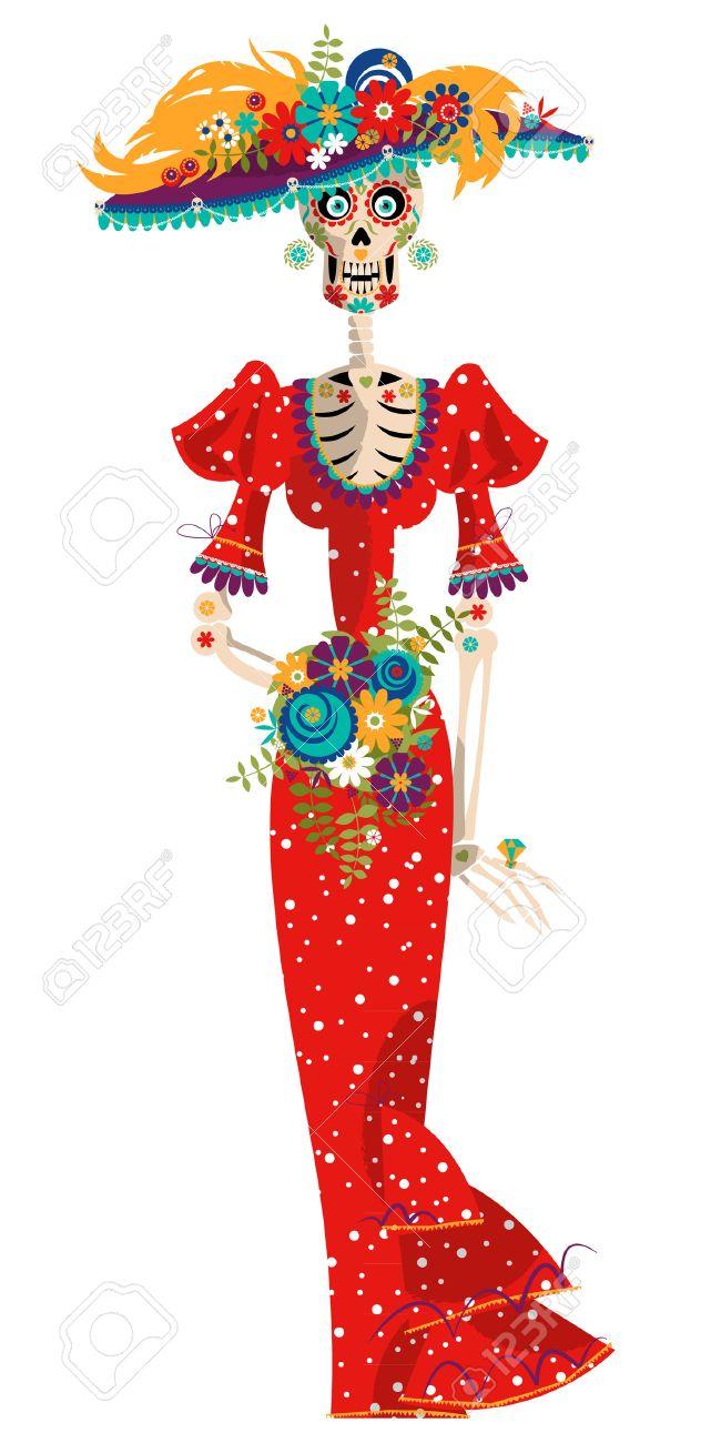 Foto de archivo - La Calavera Catrina. Elegante del cráneo. Dia de Muertos.  Tradición mexicana. Ilustración vectorial 4002a9521db