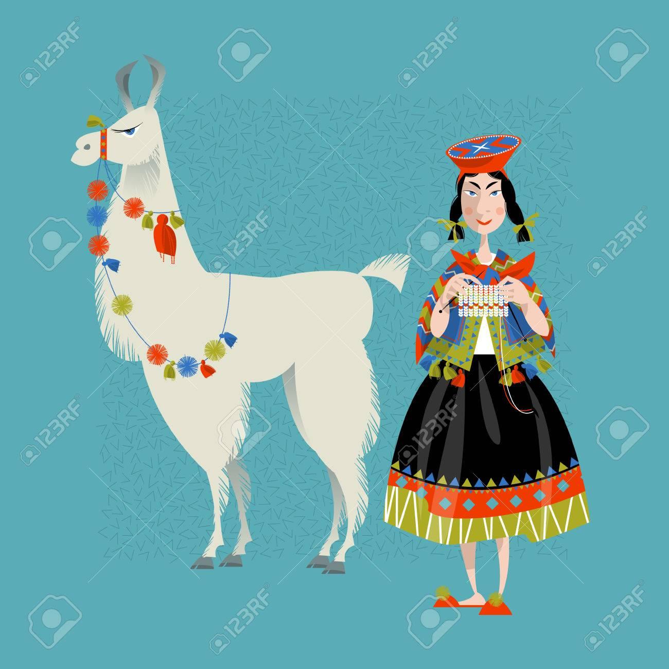 Lama Alpaca and knitting Peruvian woman. - 46954482
