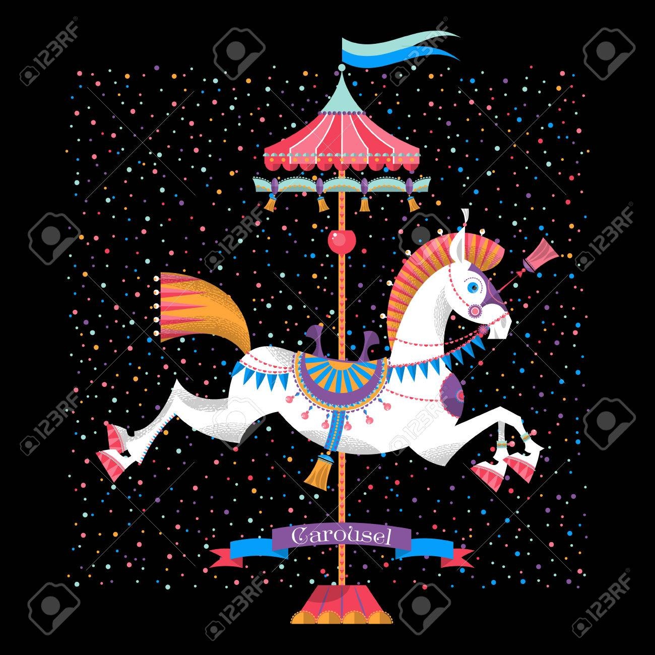 Greeting Card With Vintage Carousel Horse Vector Illustration