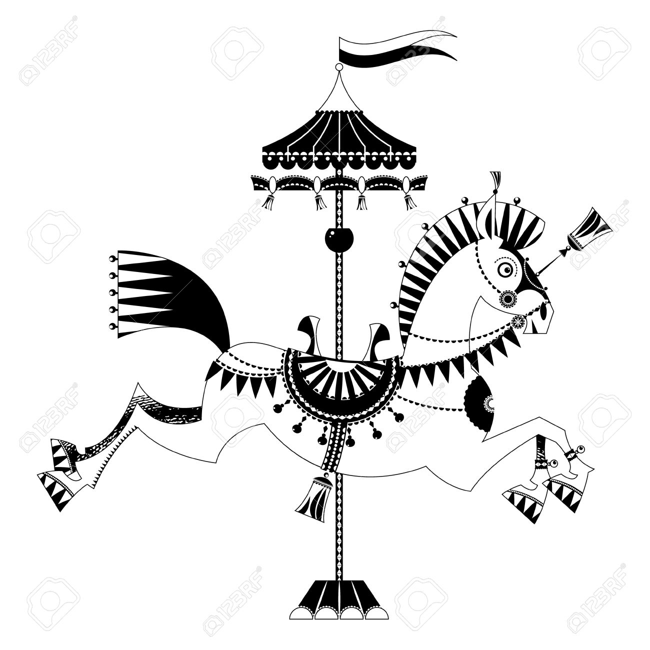 Vintage Carousel Horse Black And White Royalty Free Cliparts Vectors And Stock Illustration Image 46954504