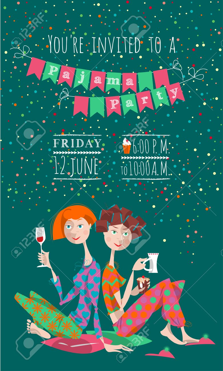 Two Girls In A Slumber Party. Pajama Party. Invitation. Vector ...