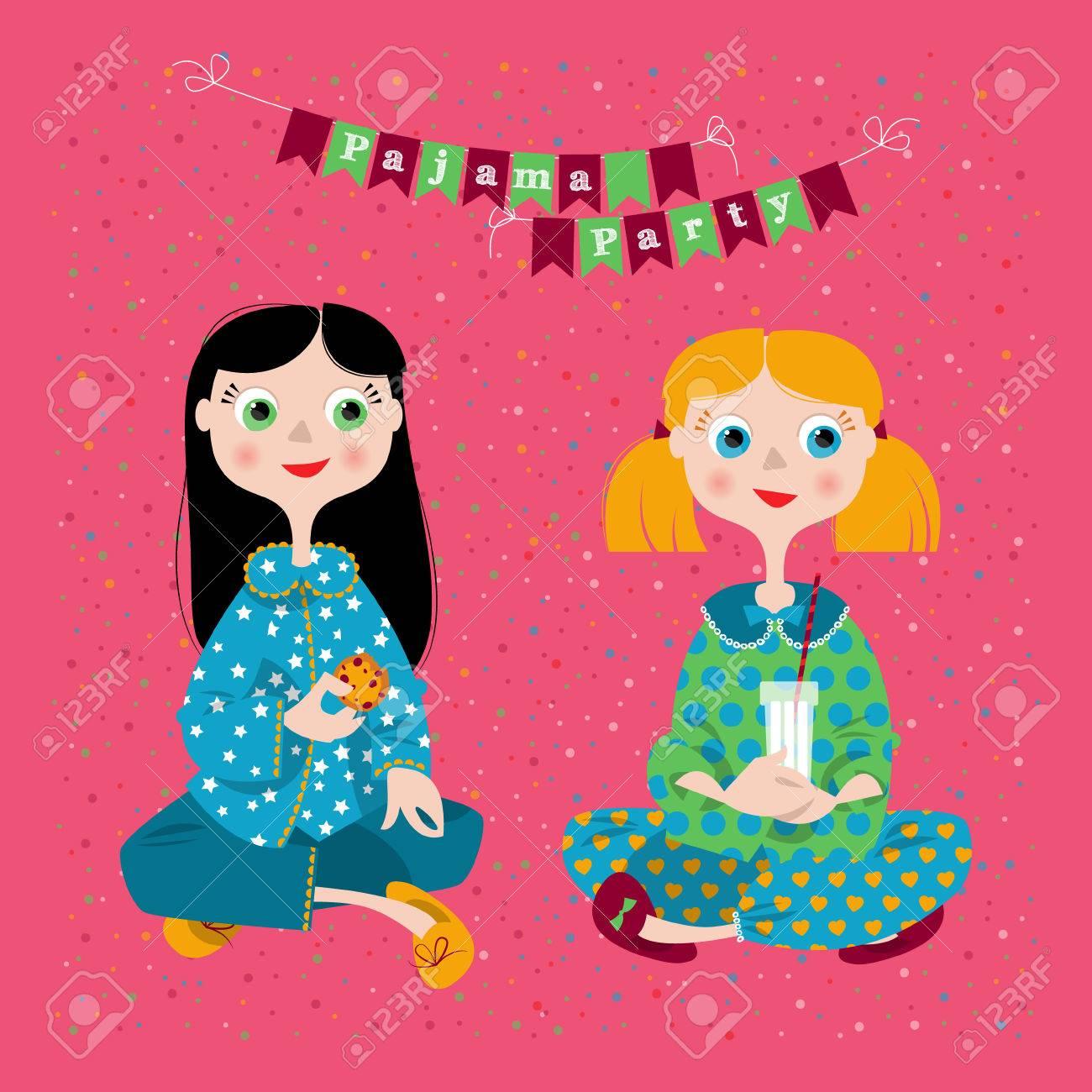 Deux Filles Dans Une Soirée Pyjama Pajama Party Vector Illustration