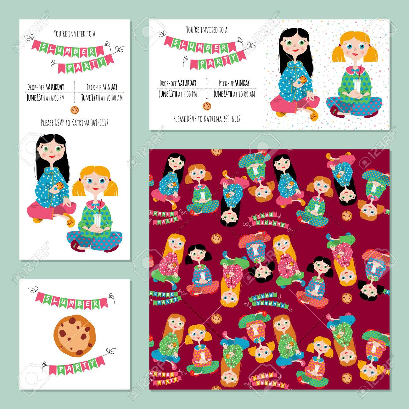5 Invitation Cards For Pajama Party. Template. Royalty Free Cliparts ...