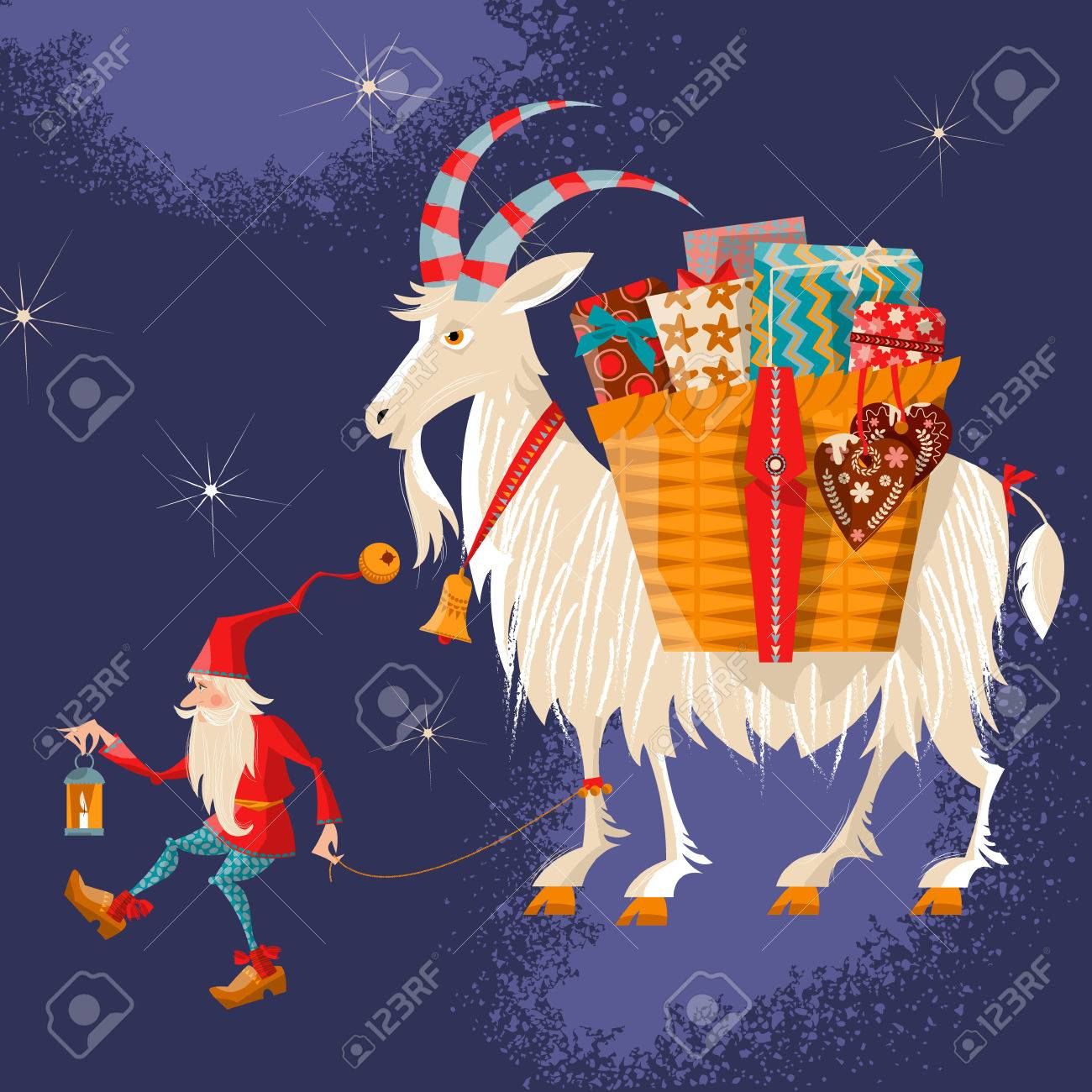 Christmas Goat.Scandinavian Christmas Tradition Christmas Gnome And Yule Goat