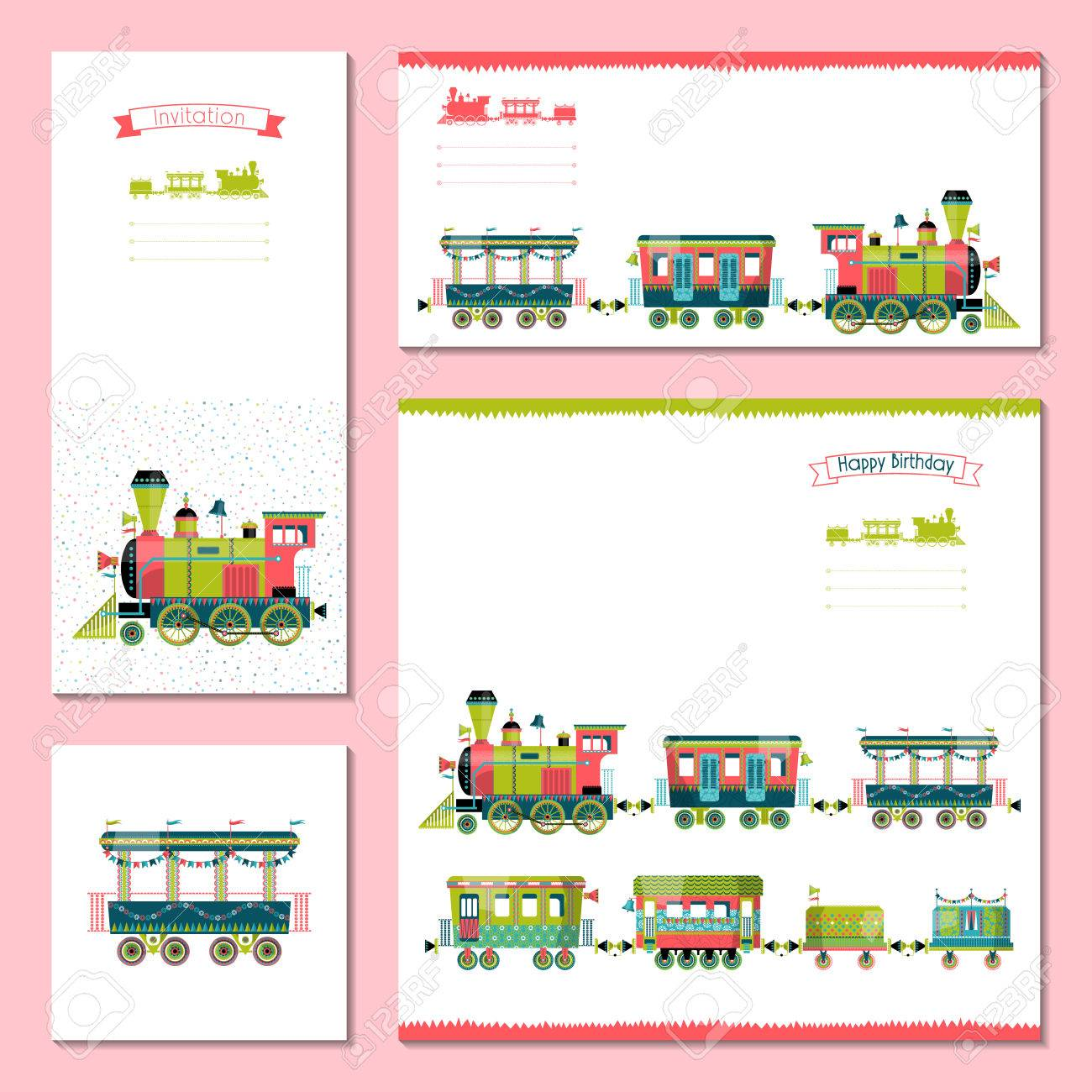 4 Tarjetas Universales Con Tren De Juguete Modelo Cumpleaños Aniversario Fiesta De Los Niños Invitación Evento Especial Ilustración Vectorial