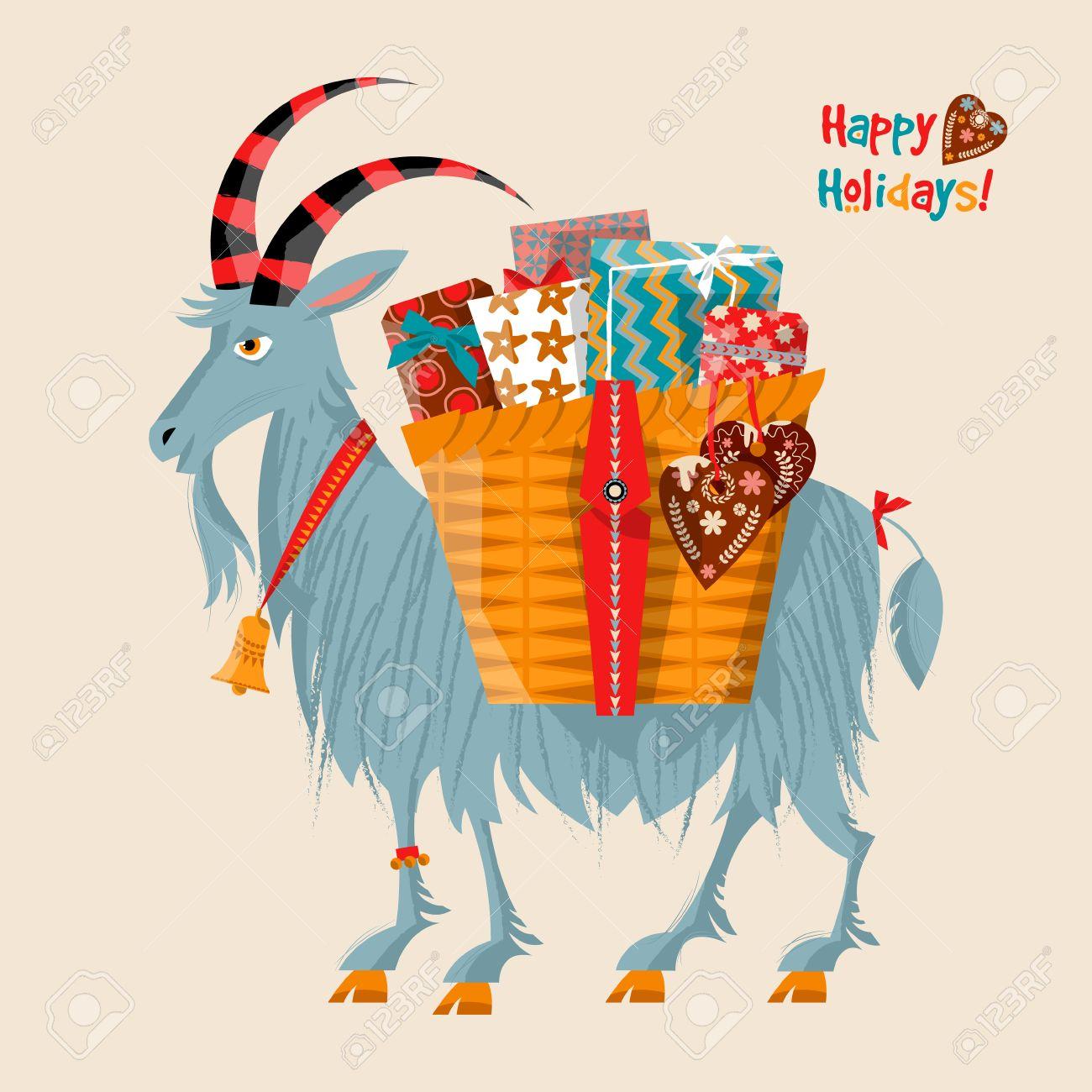 Scandinavian Christmas Tradition. Yule Goat (Christmas Symbol ...