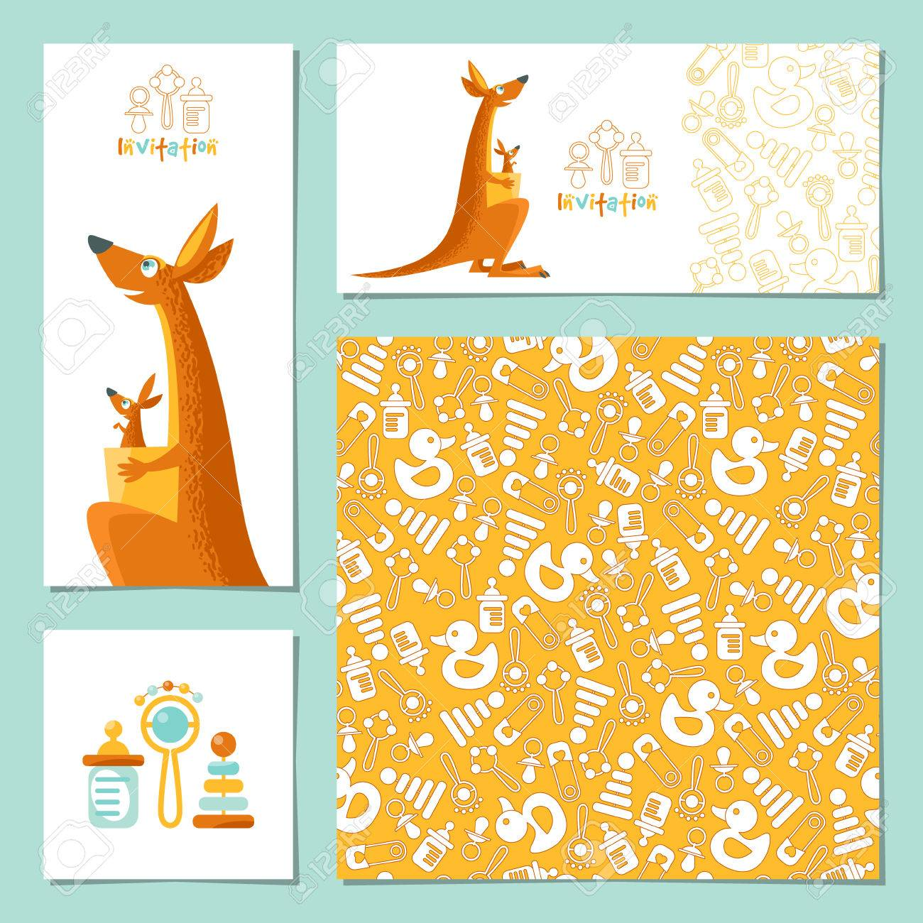set of 4 universal invitation cards with a kangaroo and a baby