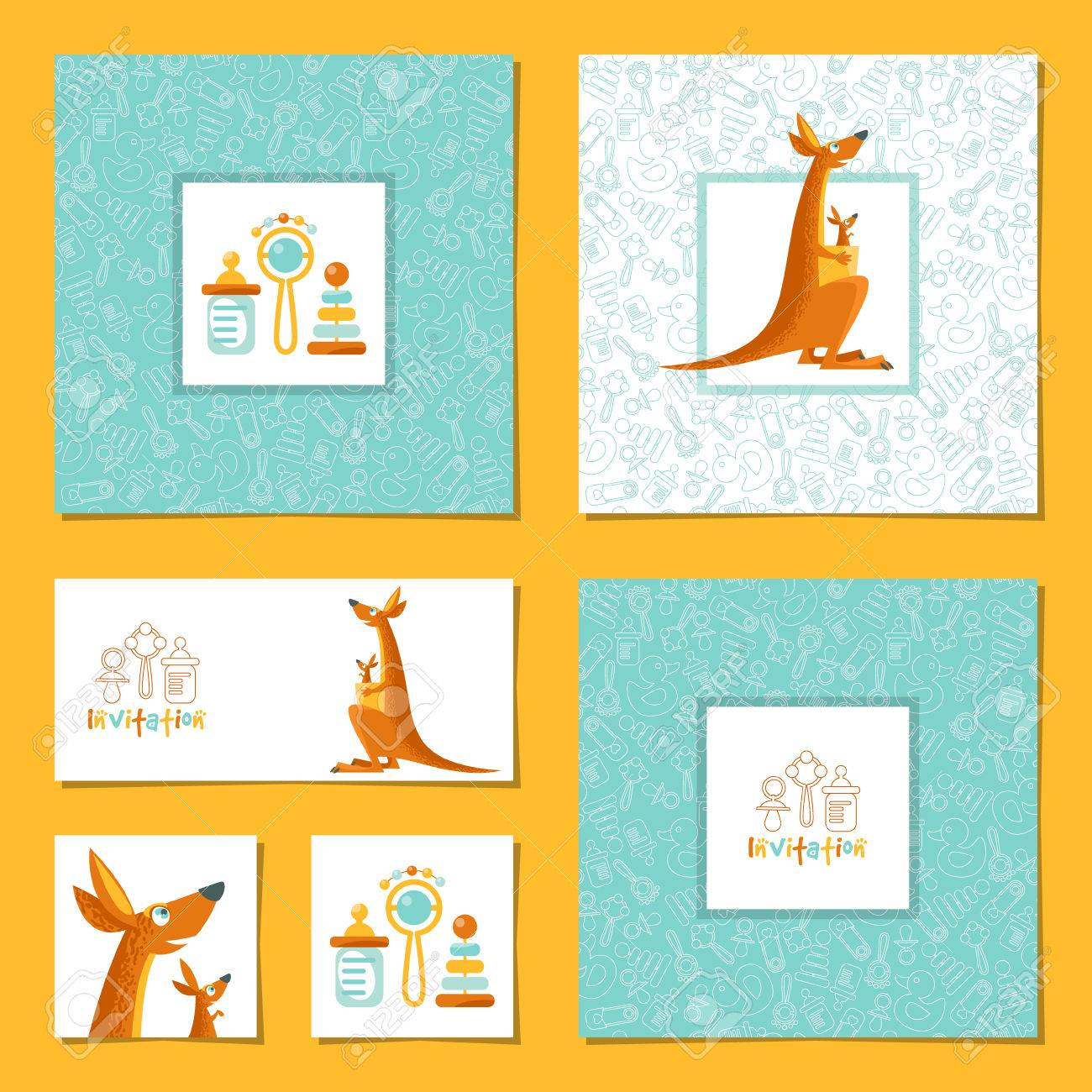 set of 6 universal invitation cards with a kangaroo and a baby