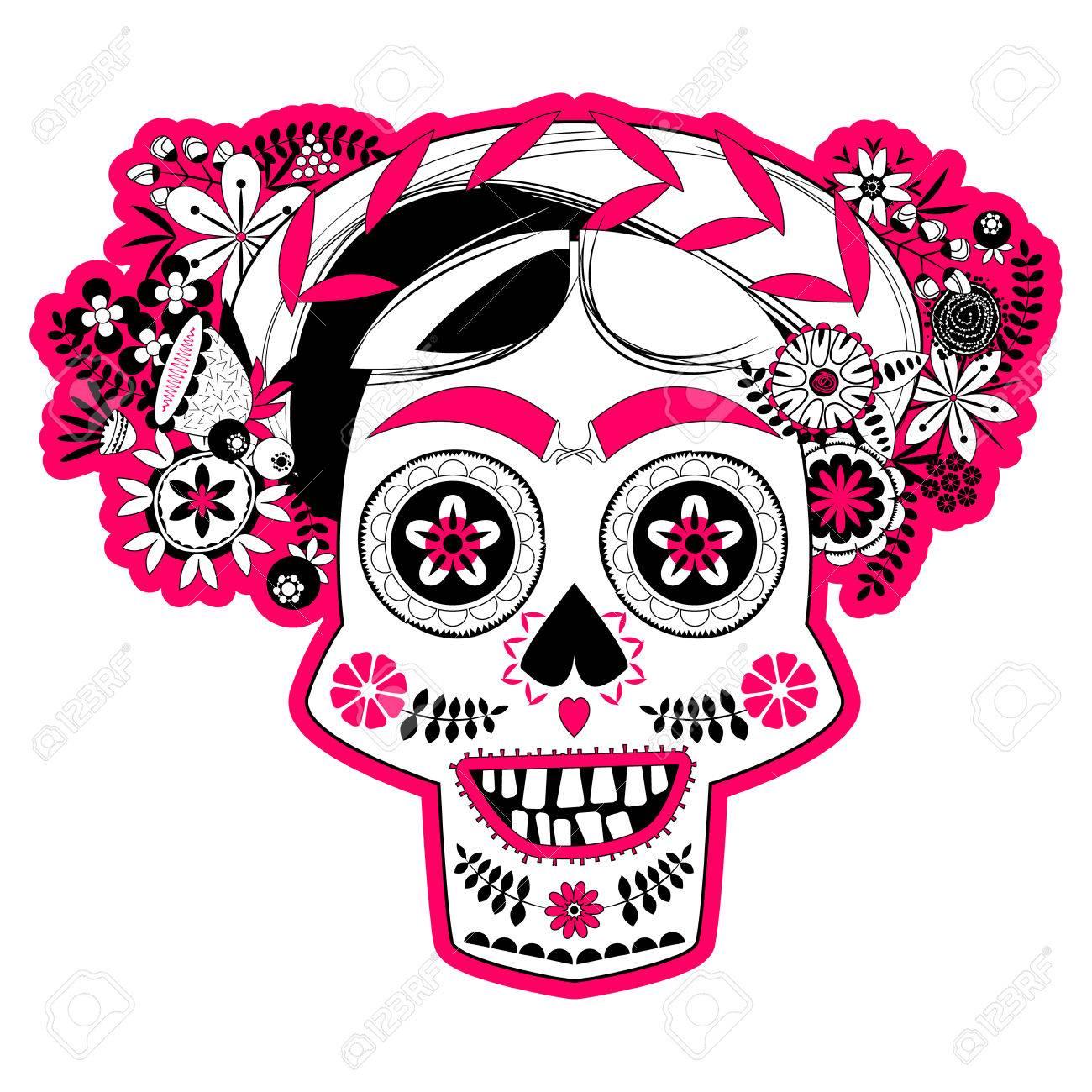 Cráneo Sonriente Con Un Peinado De Flores Decoradas La Calavera