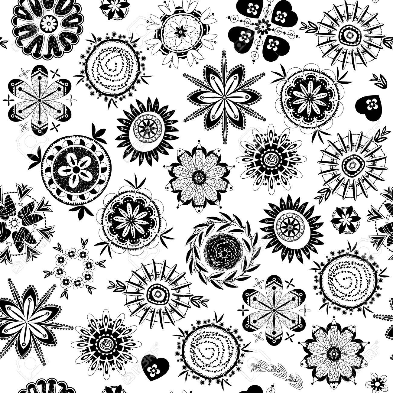 d4e4f1222c Archivio Fotografico - In bianco e nero fantasia fiori decorativi. Motivo  di sfondo senza soluzione di continuità. illustrazione di vettore