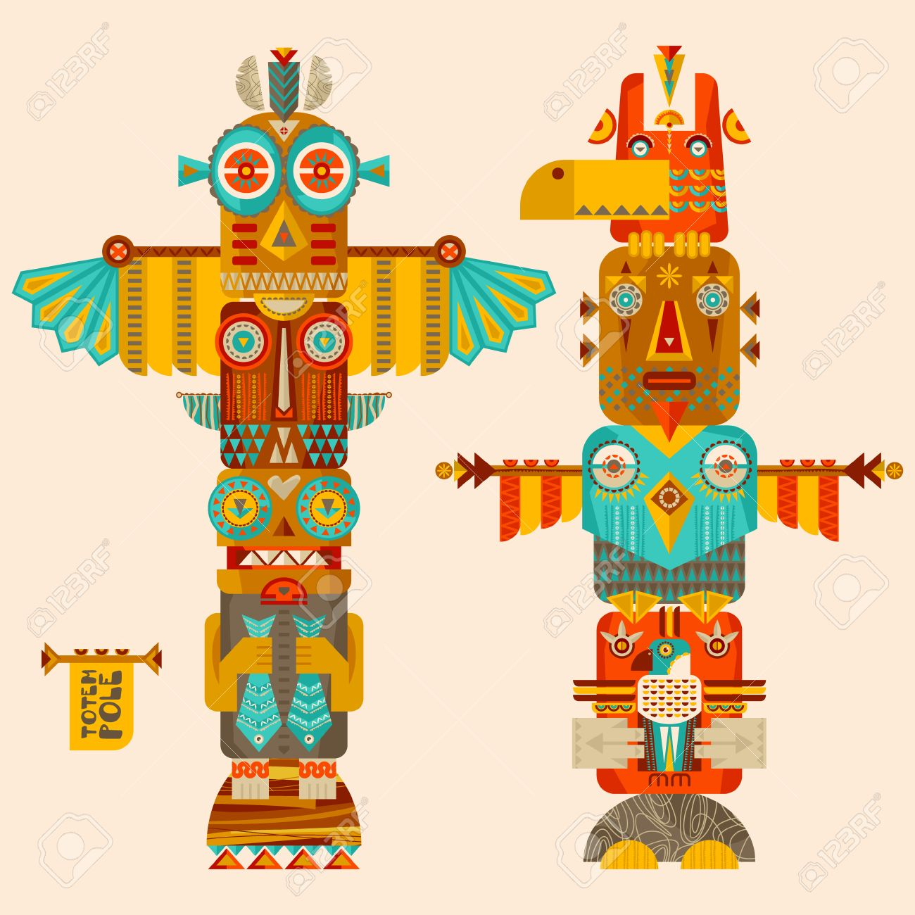 multi colored totem poles illustration royalty free cliparts