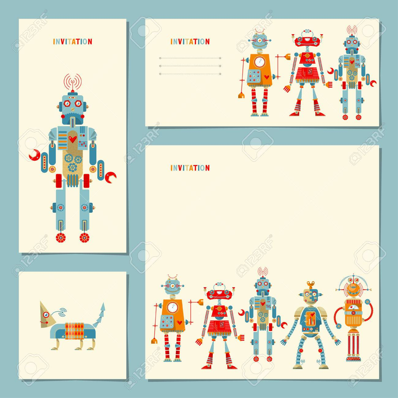 4 universal cards withmulti colored robots template birthday