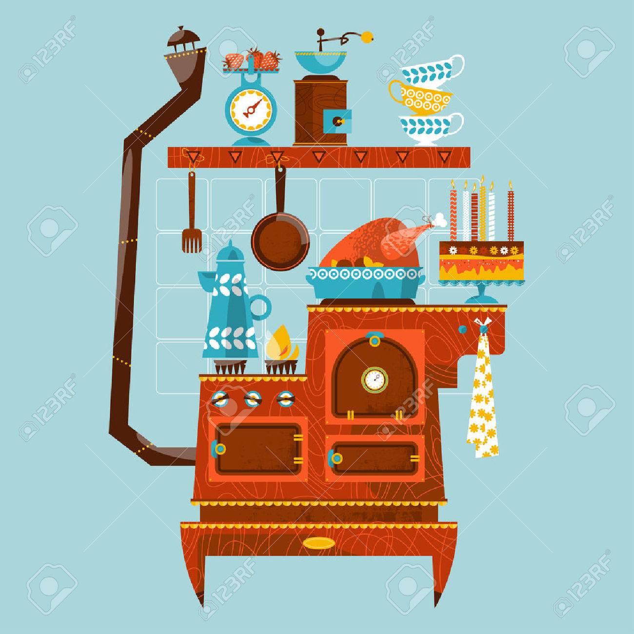 Retro-Stil Herd Mit Vintage-Küchengeräte Und Utensilien. Vektor ...