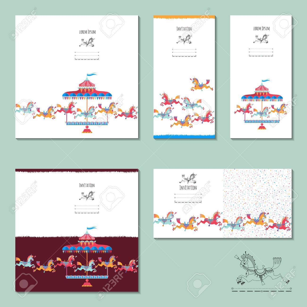5 invitation cards with vintage carousel horse birthday 5 invitation cards with vintage carousel horse birthday anniversary childrens party vector stopboris Gallery