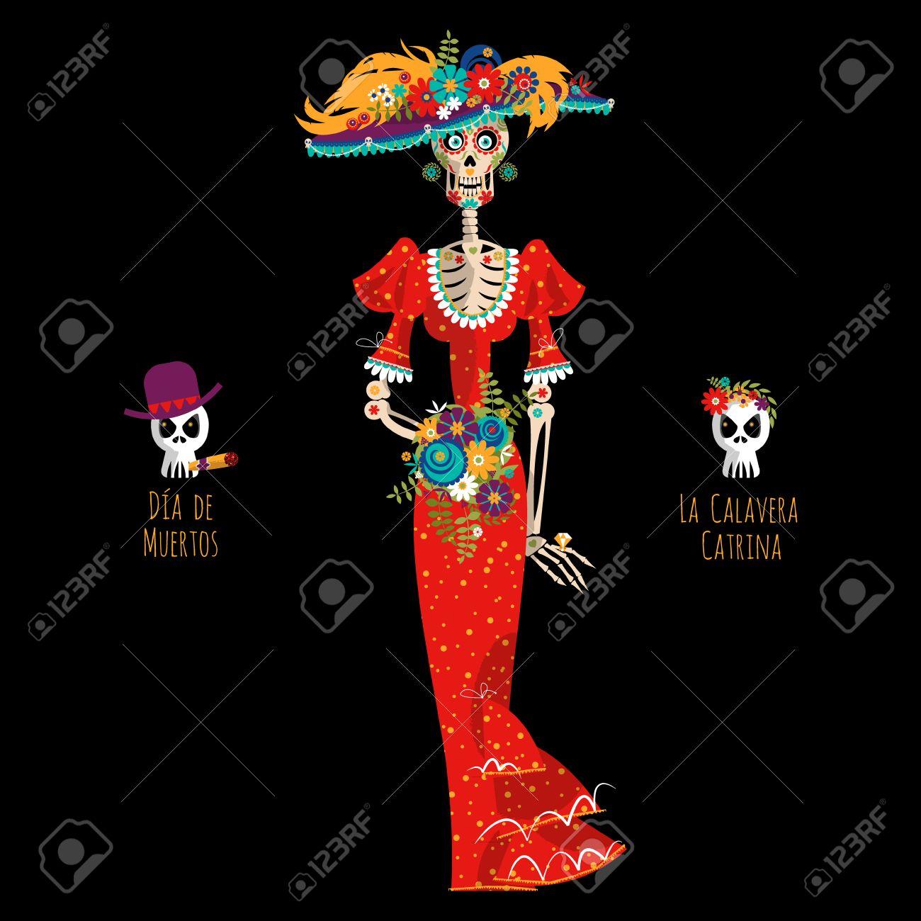 La Calavera Catrina Elegante Del Cráneo Dia De Muertos Tradición Mexicana Ilustración Vectorial