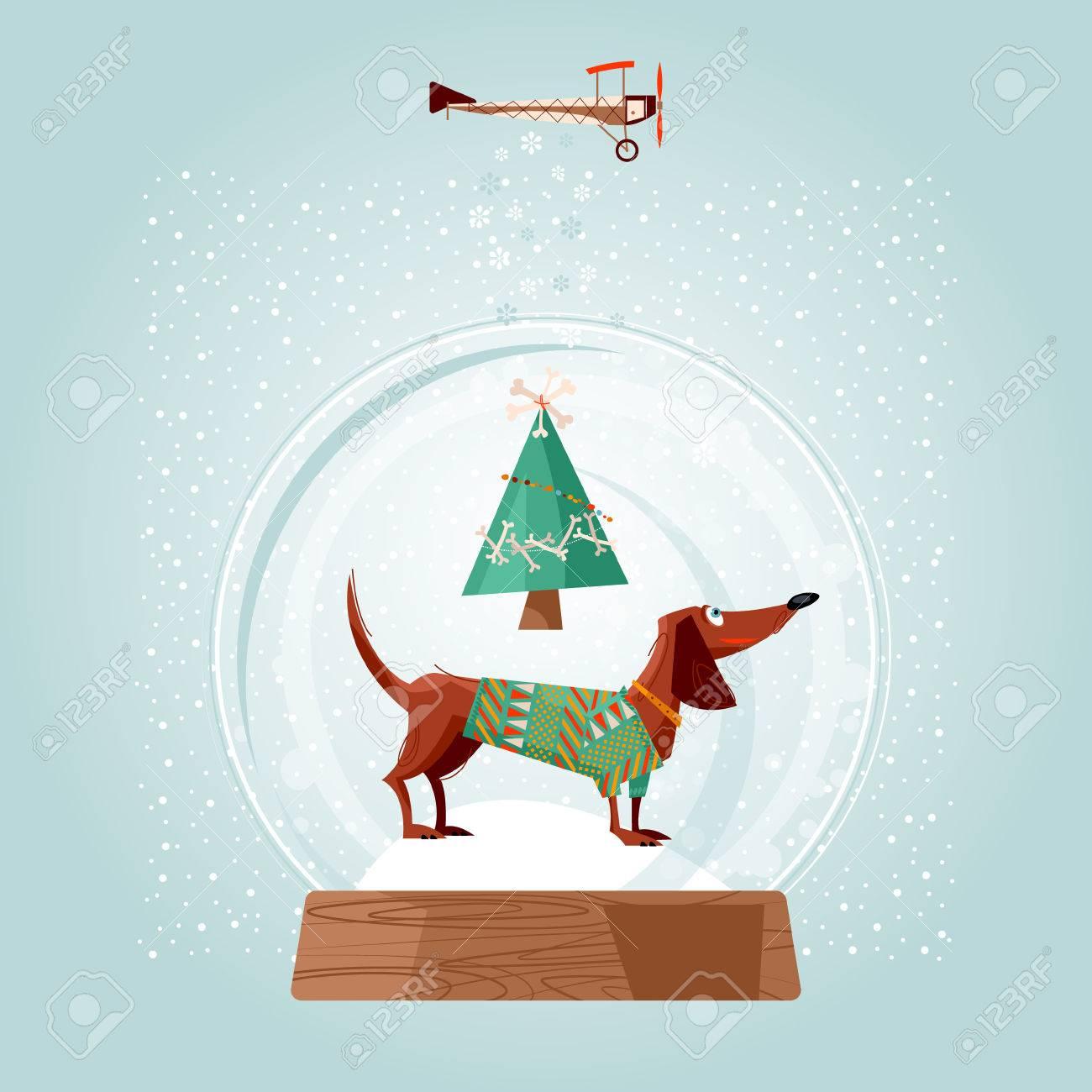 Weihnachten Schneekugel Und Dackel. Weihnachtshund. Grußkarte ...