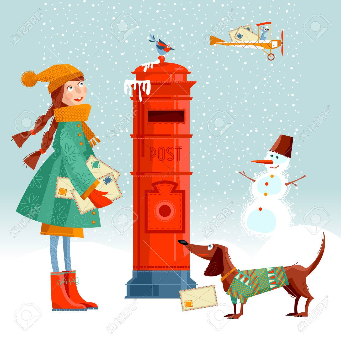 Little girl and dachshund at the post box sending letters little girl and dachshund at the post box sending letters to santa vintage christmas kristyandbryce Image collections