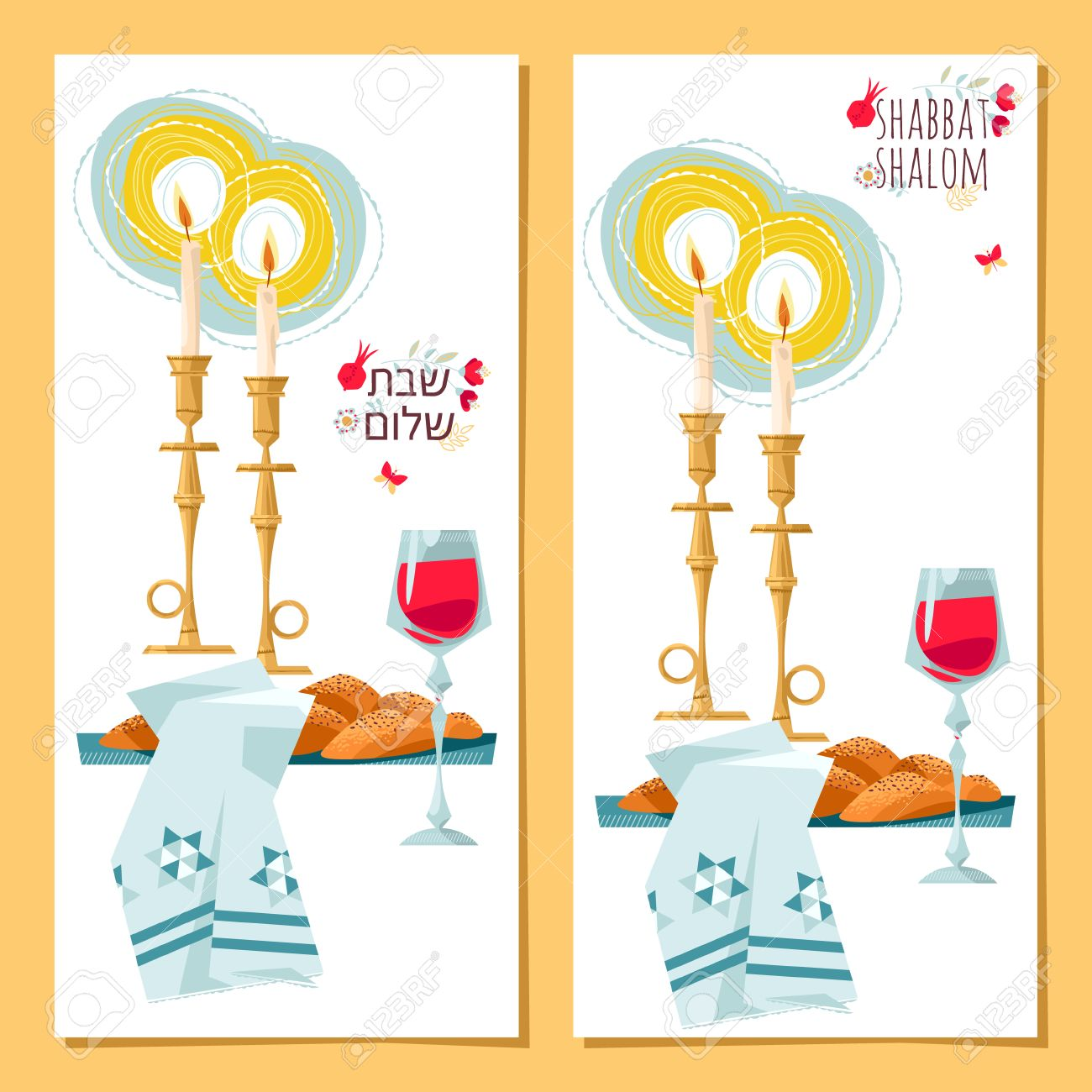 2 greeting cards shabbat shalom candles kiddush cup and challah 2 greeting cards shabbat shalom candles kiddush cup and challah jewish holiday m4hsunfo Image collections