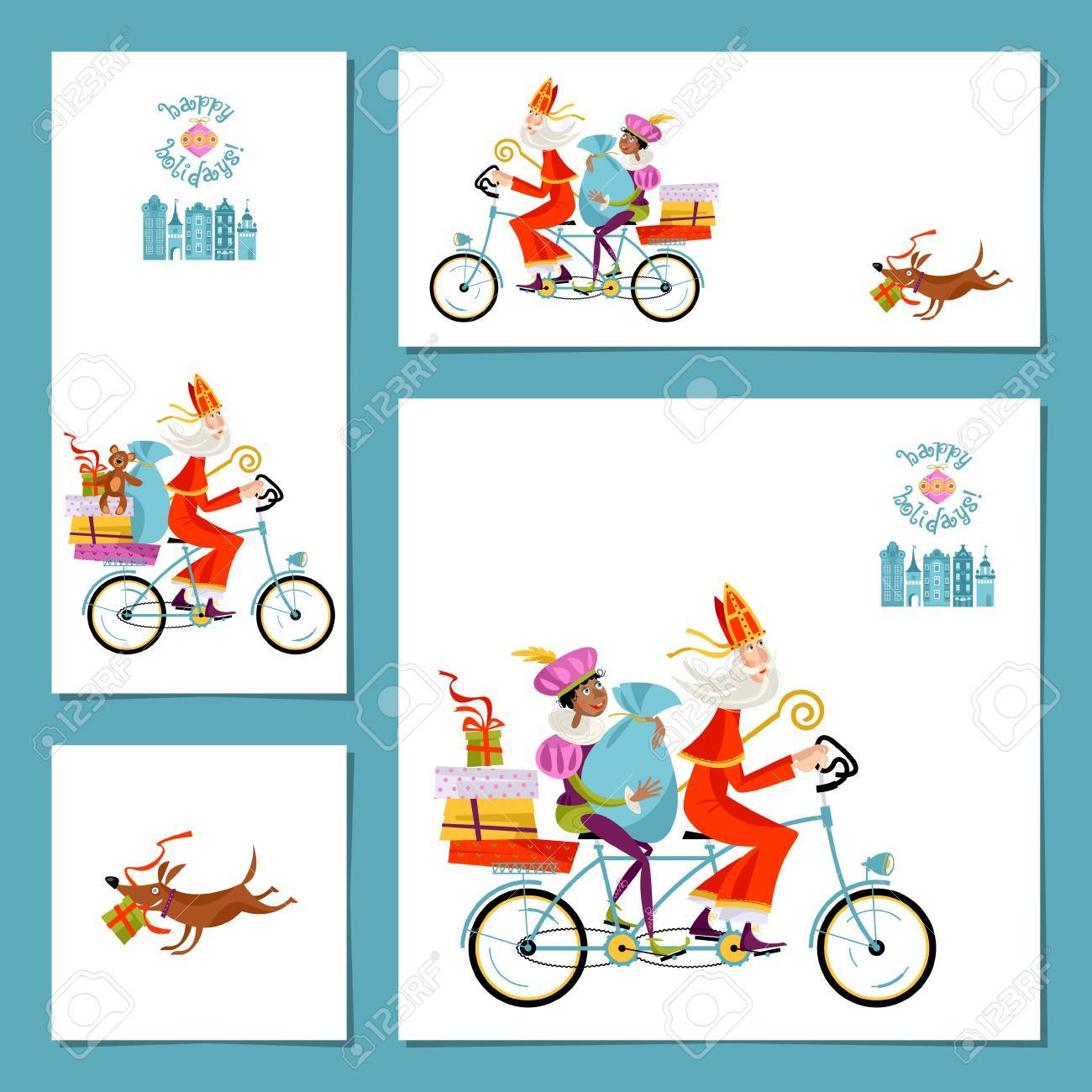 Set Of 4 Universal Cards With Sinterklaas And His Helper. Christmas ...
