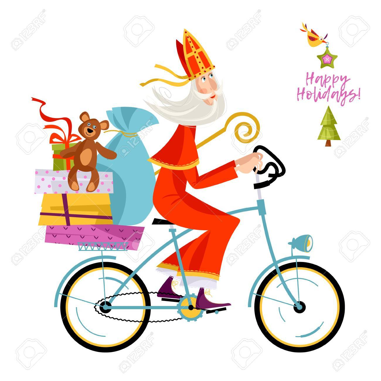 Christmas In Holland.Santa Claus Sinterklaas On A Bicycle With Gifts Christmas