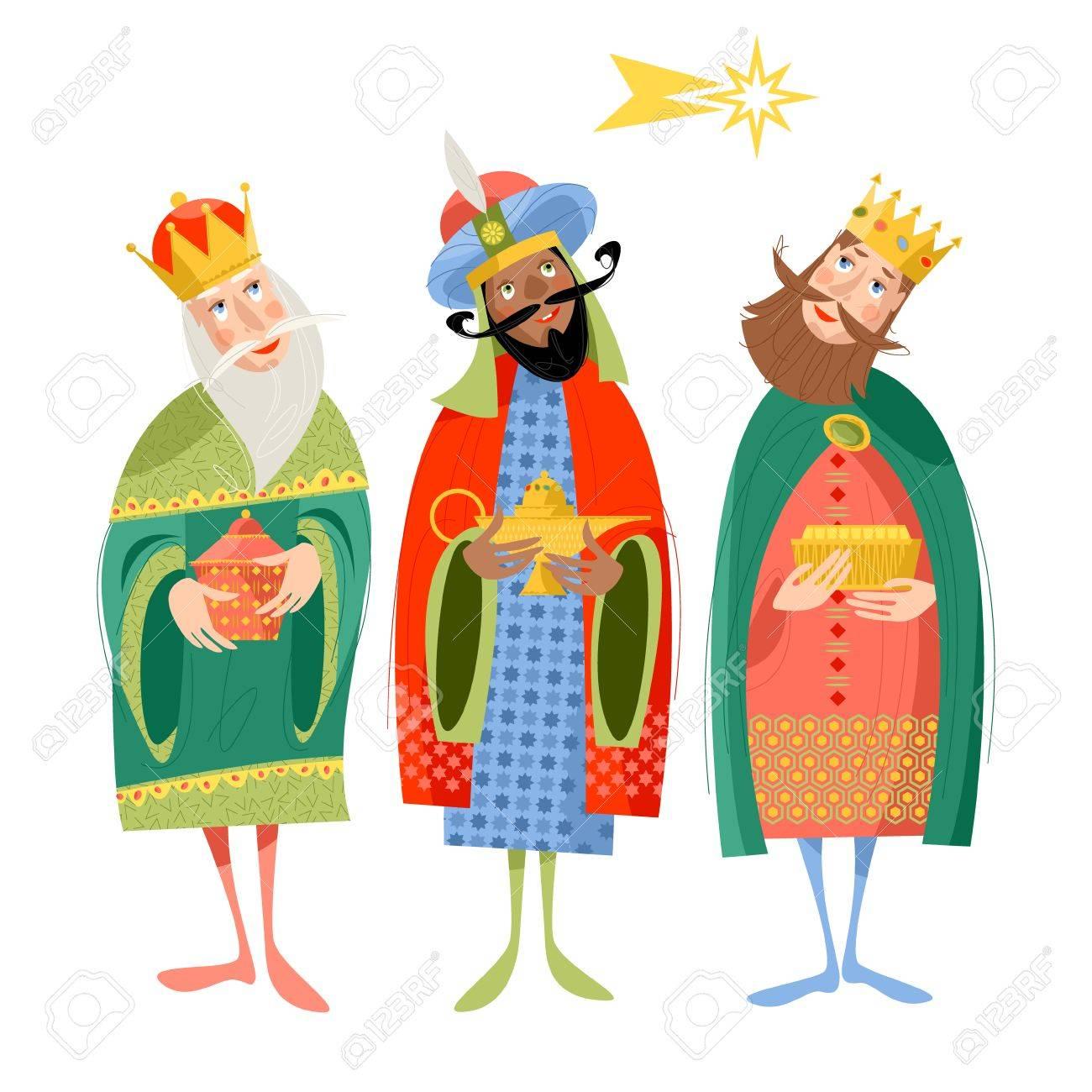 Three biblical Kings: Caspar, Melchior and Balthazar. Three wise men. Vector illustration. - 87625521