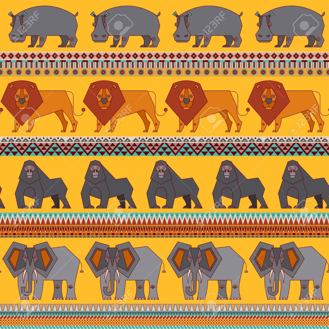 Set of African animals. Hippo, lion, elephant, gorilla. Geometric style. Vector illustration - 122865779